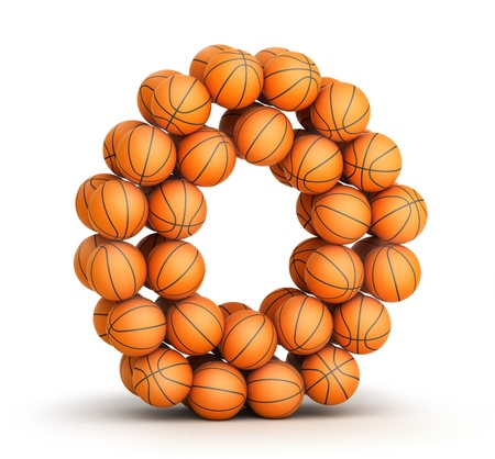 Letter O from basketball balls isolated on white background photo