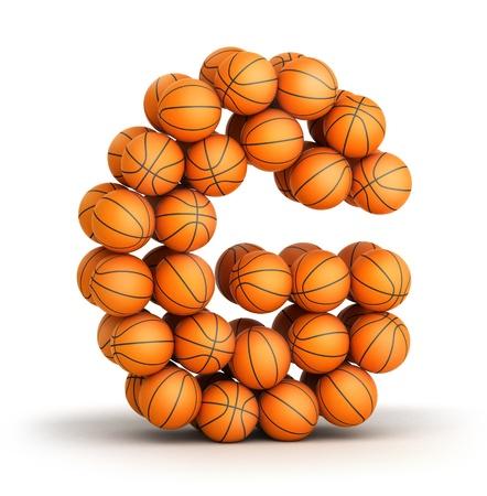 g alphabet: Letter G from basketball balls isolated on white background Stock Photo