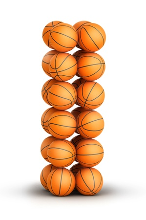 Letter i from basketball balls isolated on white background photo