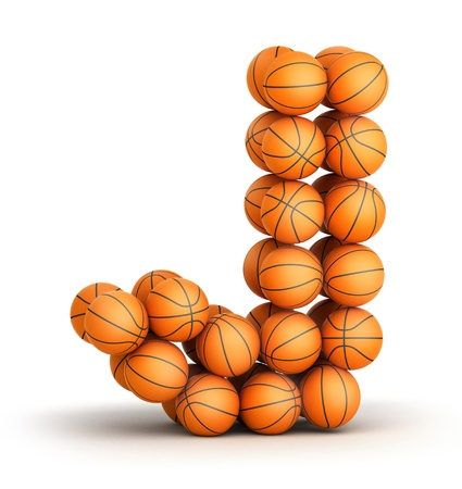 Letter j from basketball balls isolated on white background photo