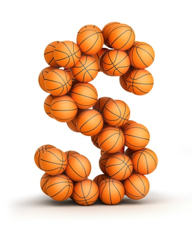 Letter S from basketball balls isolated on white background Stock Photo - 19089576