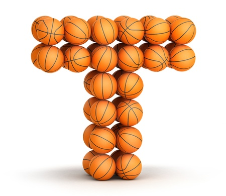 t background: Letter T from basketball balls isolated on white background Stock Photo