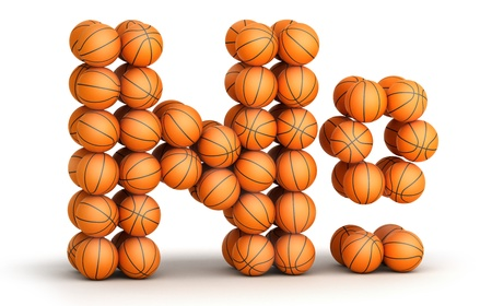 favorite number: Number symbol  from basketball balls isolated on white background