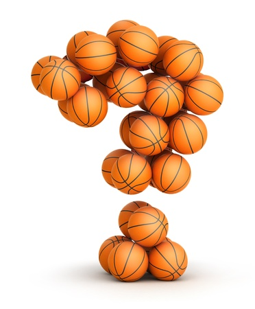 intrigue: Question mark from basketball balls isolated on white background