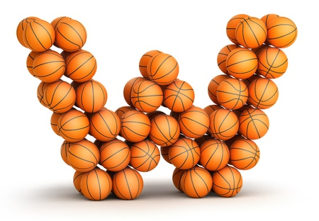 Letter W from basketball balls isolated on white background photo