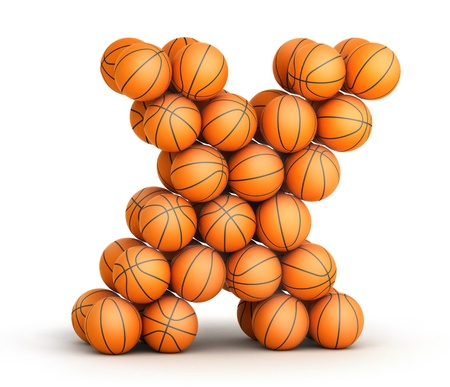 Letter X from basketball balls isolated on white background photo