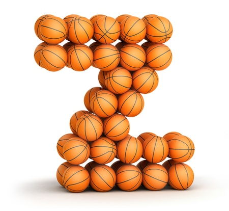 Letter Z from basketball balls isolated on white background Stock Photo - 19089587