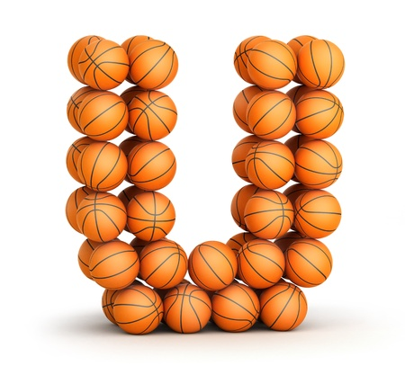 Letter U from basketball balls isolated on white background photo