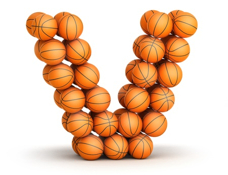 Letter V from basketball balls isolated on white background photo