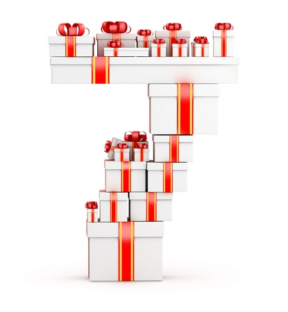 Number 7 from  boxes of gifts decorated with red ribbons Stock Photo - 19421879
