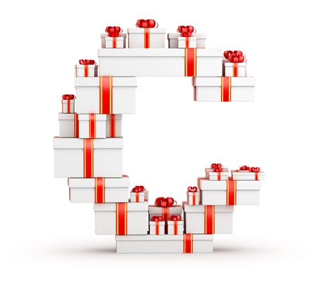 Letter C boxes of gifts decorated with red ribbons Stock Photo - 19421946