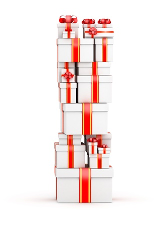 Letter I boxes of gifts decorated with red ribbons Stock Photo - 19421872