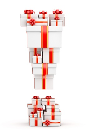 Exclamation mark from  boxes of gifts decorated with red ribbons Stock Photo - 19421871