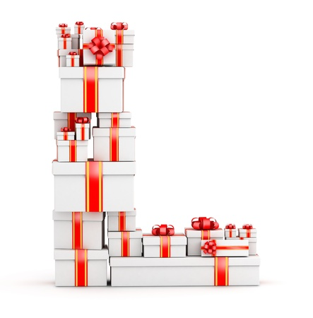 Letter L boxes of gifts decorated with red ribbons Stock Photo - 19421880