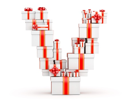 fancy box: Letter V boxes of gifts decorated with red ribbons Stock Photo