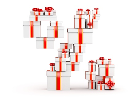 Percent sign from  boxes of gifts decorated with red ribbons Stock Photo - 19422064