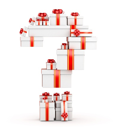 shopping questions: Question mark from  boxes of gifts decorated with red ribbons Stock Photo