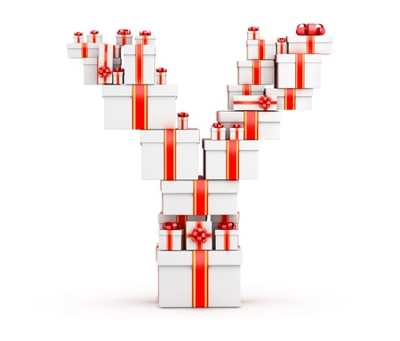 Letter Y boxes of gifts decorated with red ribbons Stock Photo - 19421906