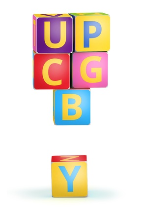 reckoning: Exclamation mark from ABC cubes for kid spell education Stock Photo