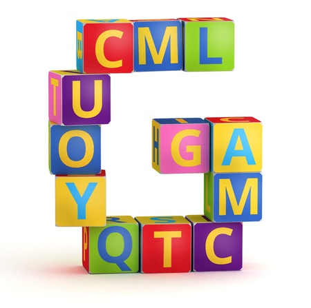 alphabetical order: Letter G from ABC cubes for kid spell education