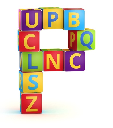Letter P from ABC cubes for kid spell education photo
