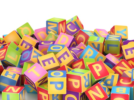 disorders: Many abc education cube scattered on pile in white background