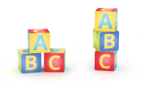 abc blocks: A,B,C letters on kid alphabet cubes on white
