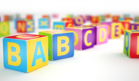 A,B,C letters on big alphabet cubes in row sequence photo