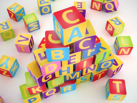 A,B,C letters on pyramid stack alphabet cubes on white photo