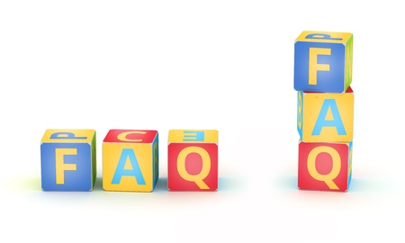 Word FAQ spelled by abc cubes  on white background photo
