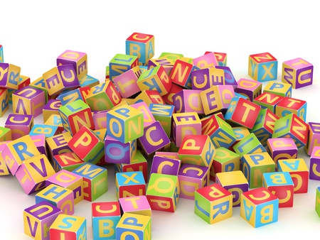 alphabetical order: Many abc education cube scattered on pile in white background