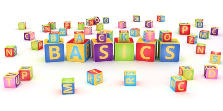alphabetical order: Words BASIC spelled by abc cubes  on white background