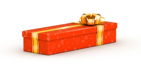 red gift box: Long red gift box with yellow ribbons on white background Stock Photo
