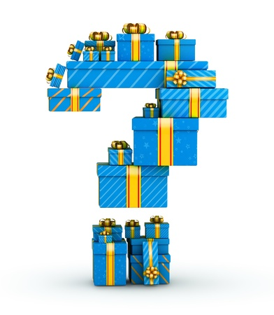 Question mark from blue gift boxes decorated with yellow ribbons photo