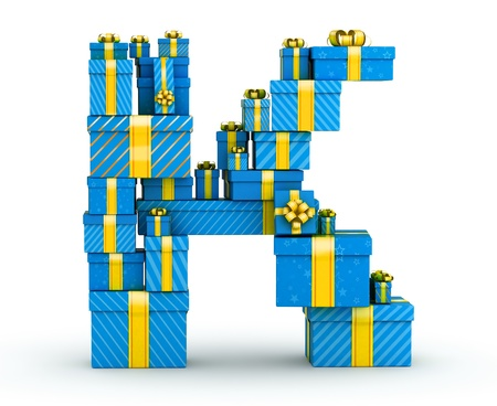 Letter K from blue gift boxes decorated with yellow ribbons Stock Photo - 19607658