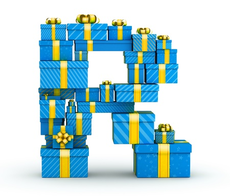 letter r: Letter R from blue gift boxes decorated with yellow ribbons