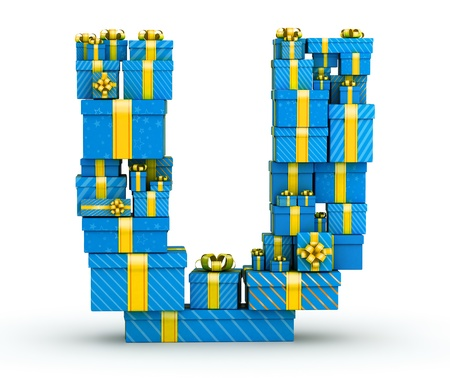 Letter U from blue gift boxes decorated with yellow ribbons Stock Photo - 19607679