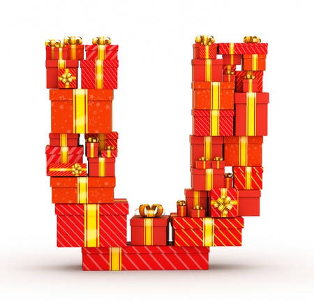 letter u: Letter from gift boxes decorated with yellow ribbons