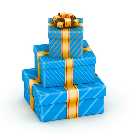 three gift boxes: Stack of three blue gift boxes with gold ribbon Stock Photo