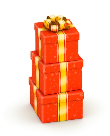 Stack of three red gift boxes with gold ribbon photo