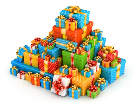Pyramid pile of colored gifts with gold ribbons photo