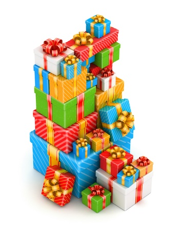 Tall stack of colored gift boxes on white background photo