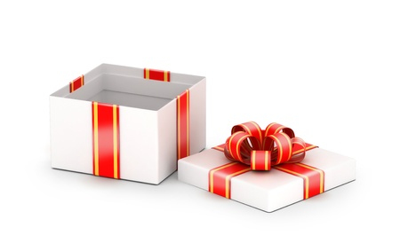fancy box: Opened shiny white gift box with red ribbons  Stock Photo