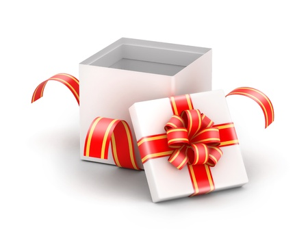 unwrapped: Opened and unwrapped white gift box with red ribbons  Stock Photo