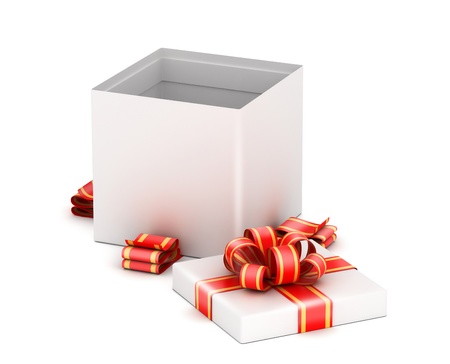 Opened   white gift box with  ribbons on white background Imagens - 19908582