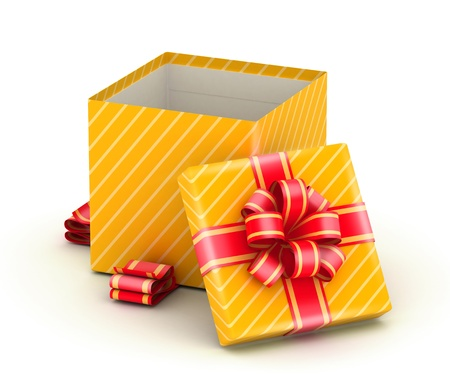 open present: Open gold gift box with gold ribbons on white background