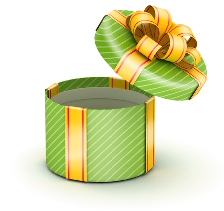 Open round green gift box with gold ribbons on white background photo