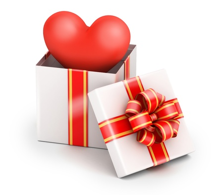 beneficence: Love from gift box with yellow ribbon on white background