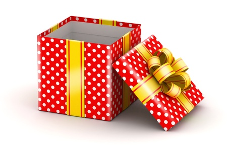 birthday present: Opened red doted gift  with gold ribbons on white background Stock Photo