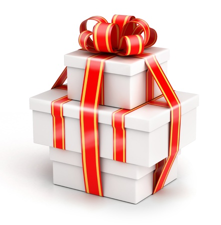 complement: Bundle of gift boxes - gift chained by ribbons